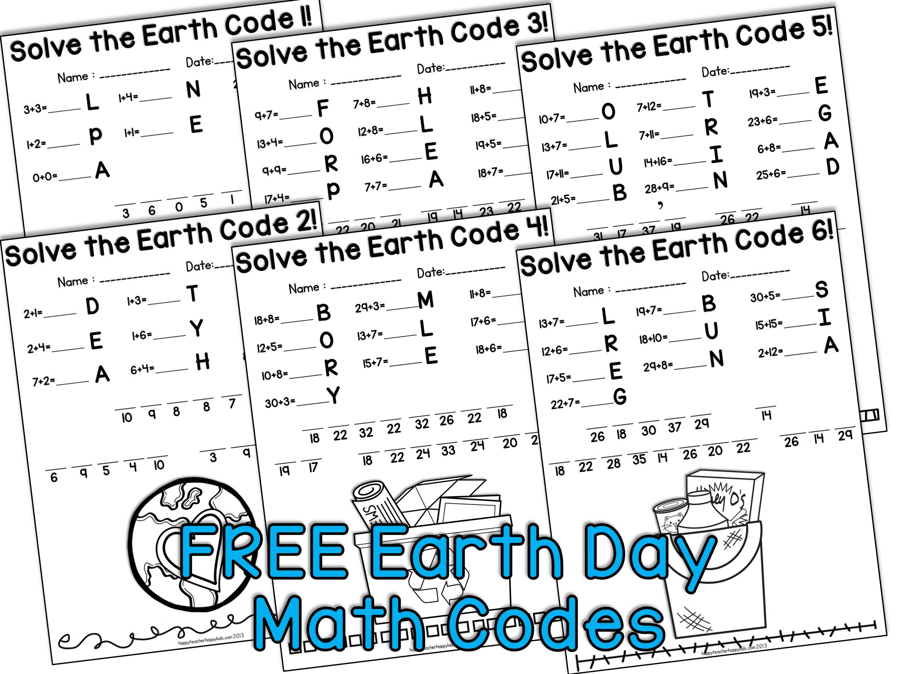 Free Earth Day Themed Math Codes Solve The Fact Get The Code Get The Message From Happy Teacher H Earth Day Activities Earth Day Worksheets Earth Day [ 2250 x 3000 Pixel ]