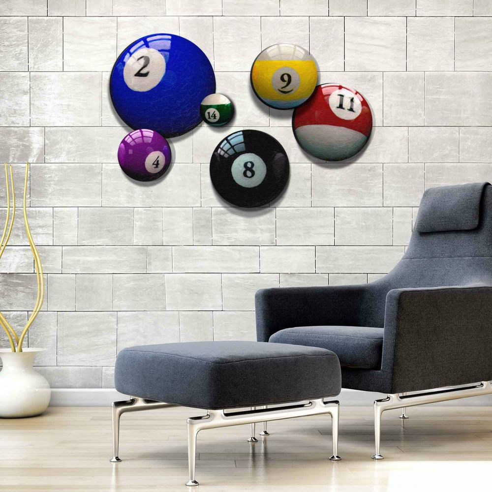 Billiards Pool Ball Round Canvas Print Giclees Wall Art Decor Set Limited Stock Billiards Room Decor Wall Decor Living Room Bonus Room Decorating