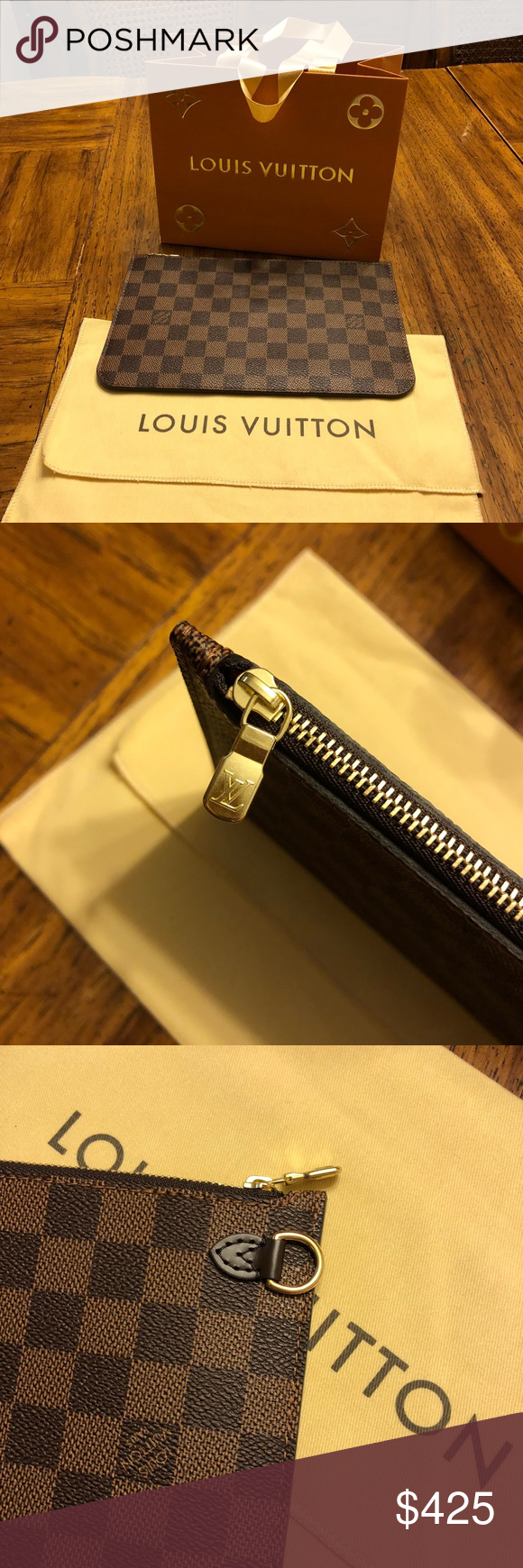 6fba789a676a Louis Vuitton Neverfull Pouch Wristlet Five days old. Authentic. I  purchased as a repair/replacement item for my Neverfull GM bag Includes  dustbag and cute ...