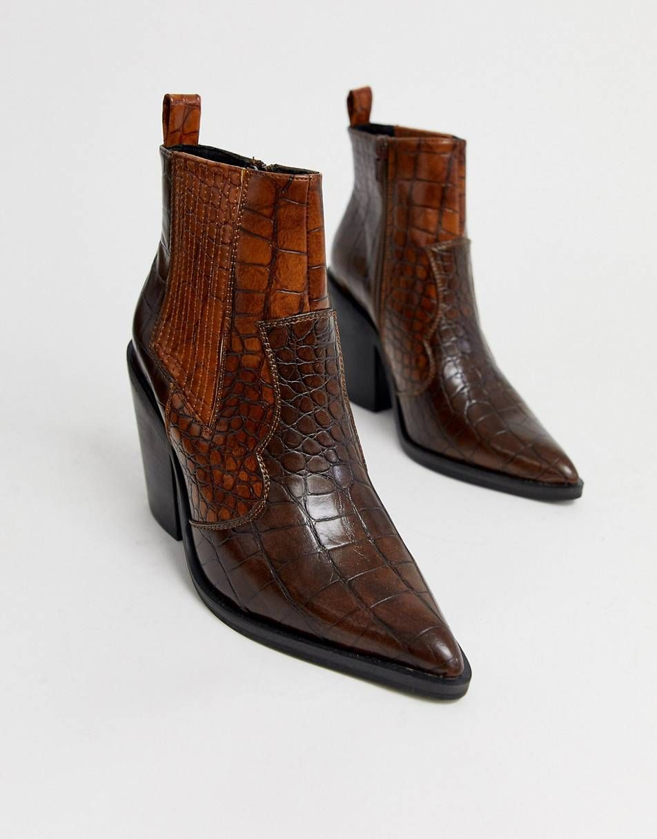 Western Boots In Brown Croc Cute Shoes For Women Fashion Brown Ankle Boots Unique Womens Shoes Kitten Heel Boots Western Boots