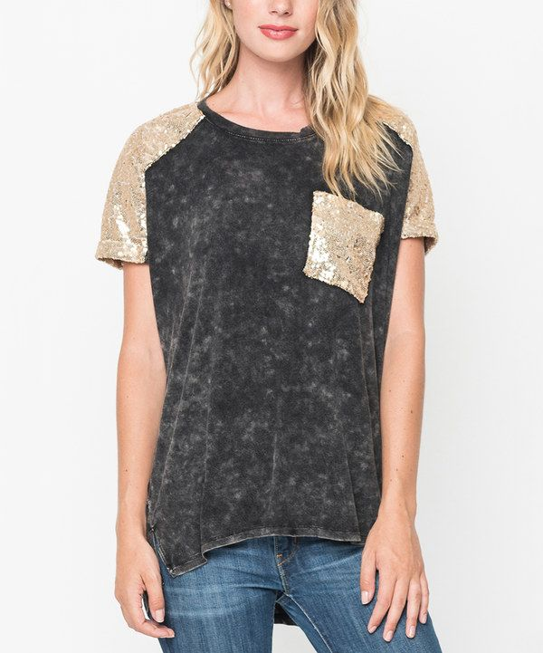 98c3f8110e93 Look at this Black Glitter-Pocket Tee on #zulily today! | Threads ...