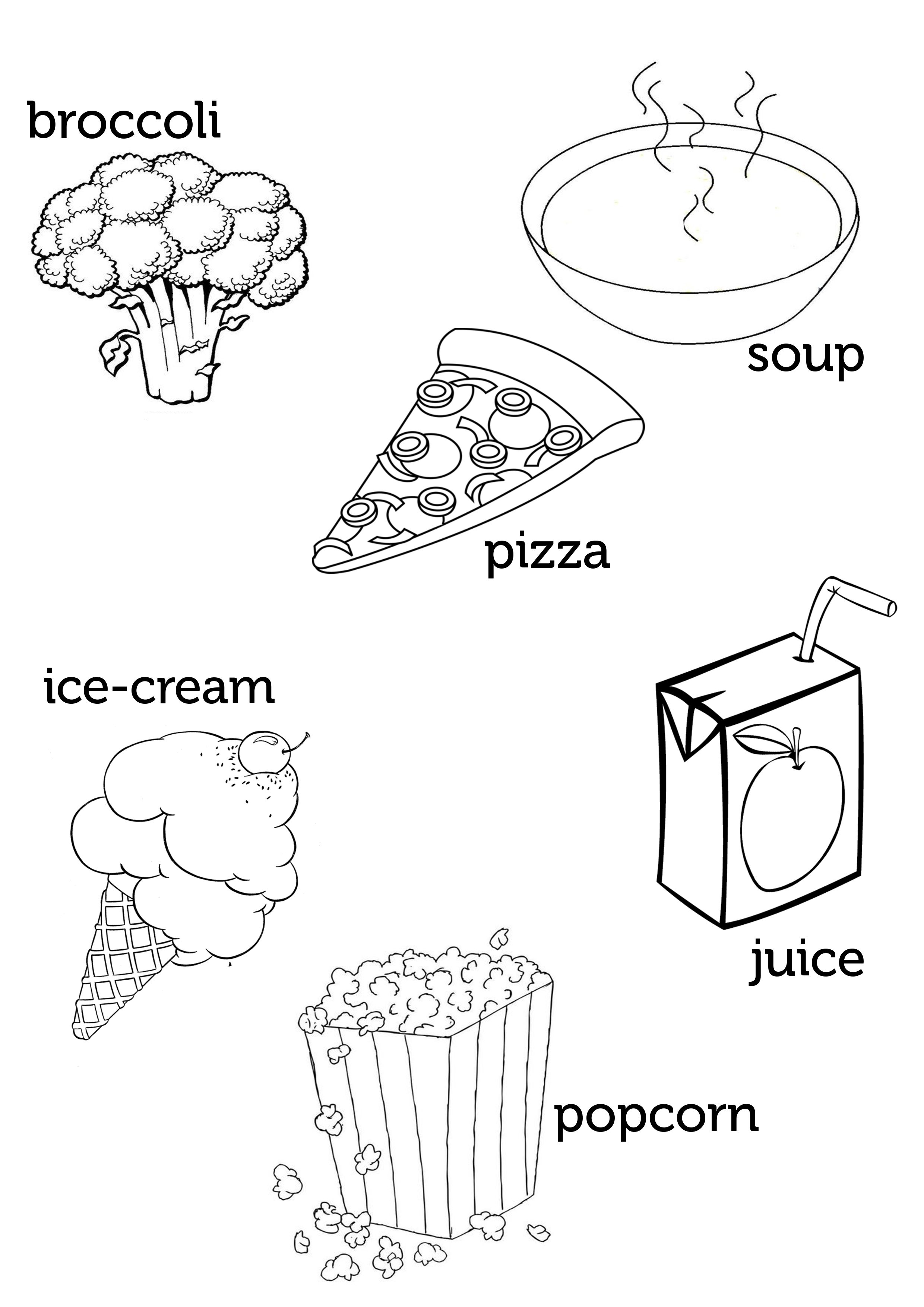 Broccoli Pizza Soup Ice Cream Juice Popcorn