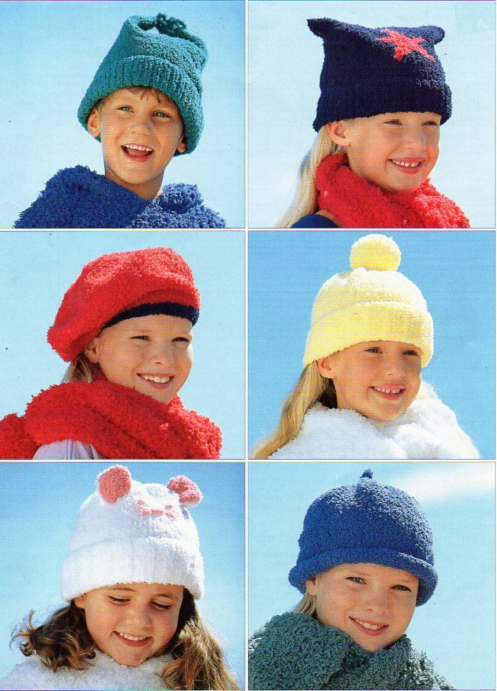 childs / childrens hats knitting pattern PDF chenille DK caps beret ...