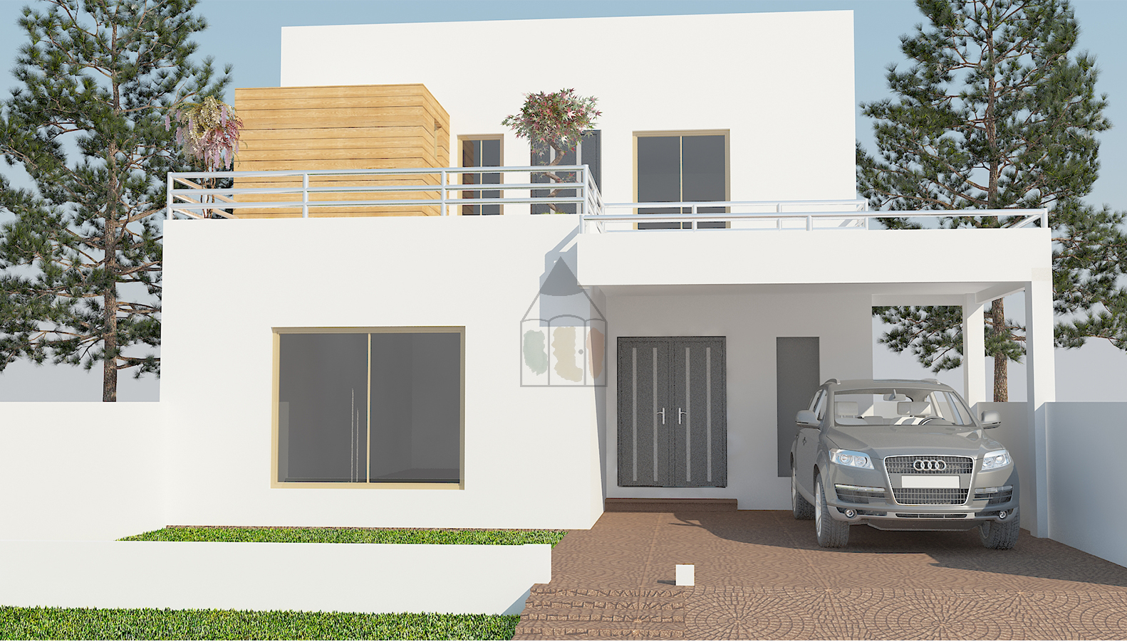 8 marla house plan design front elevation designed in multan pakistan the house map has 3 bedrooms with attached bathrooms one bedroom is on the ground