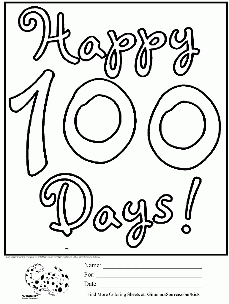 hundredth day coloring pages - photo#8