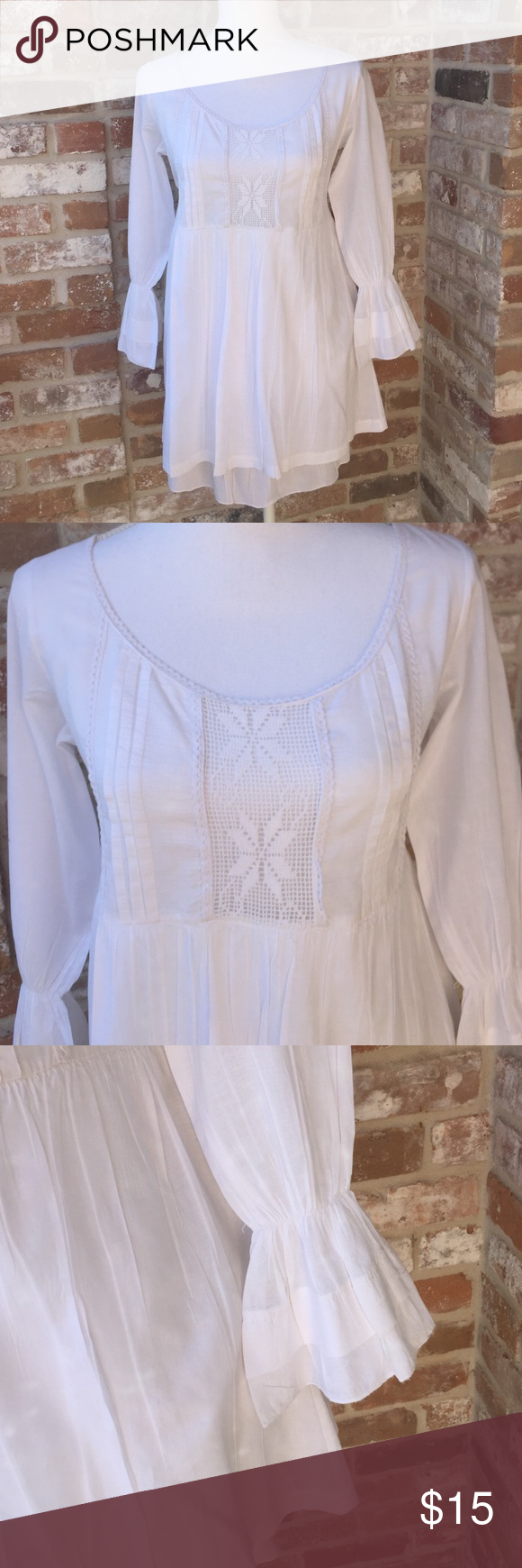 Boho blouse embroidered FINAL PRICE 95% cotton 5% elastane - one small hole near right shoulder Tops