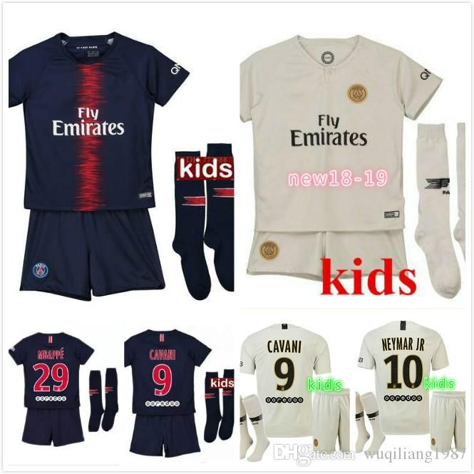 7c0b47458 2018 Kids Kit 18 19 Psg Soccer Jersey Home Away 2018 2019 Mbappe DI MARIA T