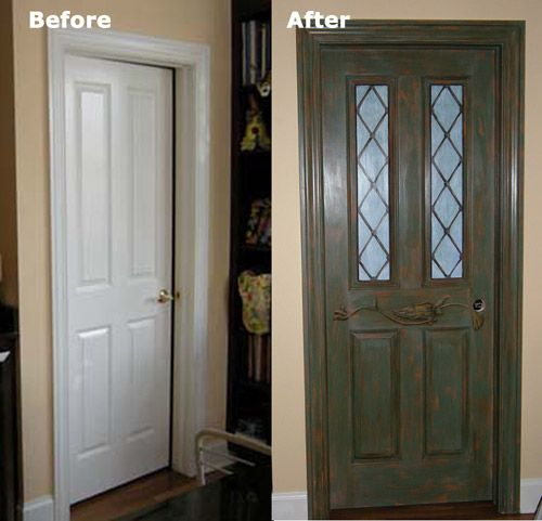 Transform a dull room with a door painted to look like a vintage ...