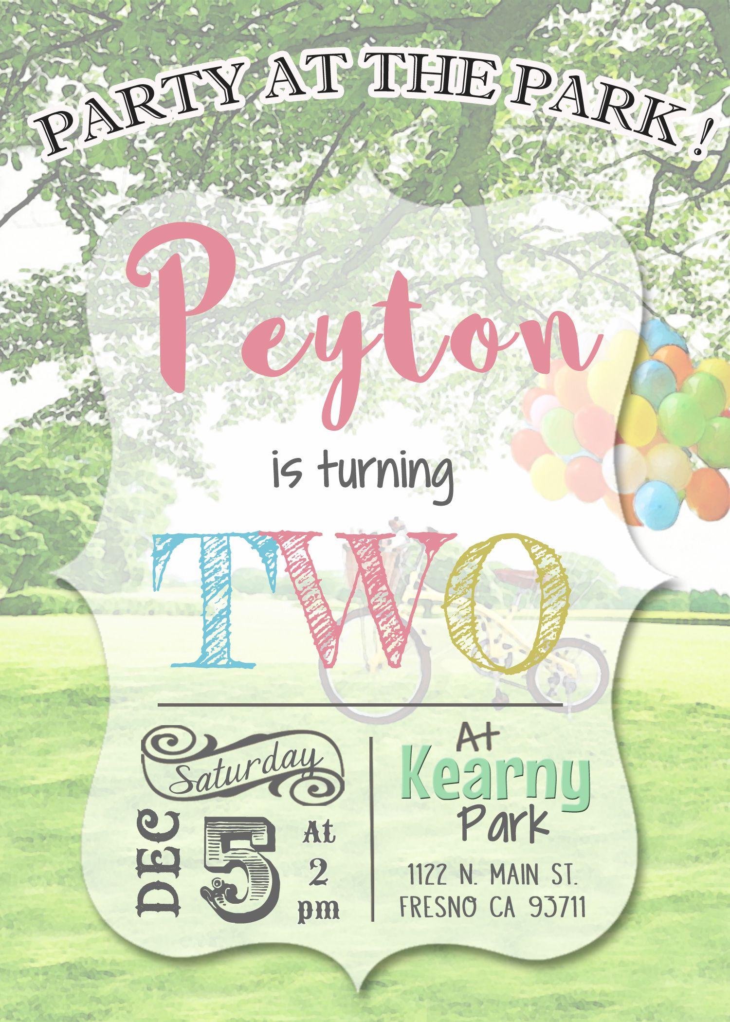 Park Birthday Invitation Invite Playground Birthday Party Shabby – Park Birthday Invitations