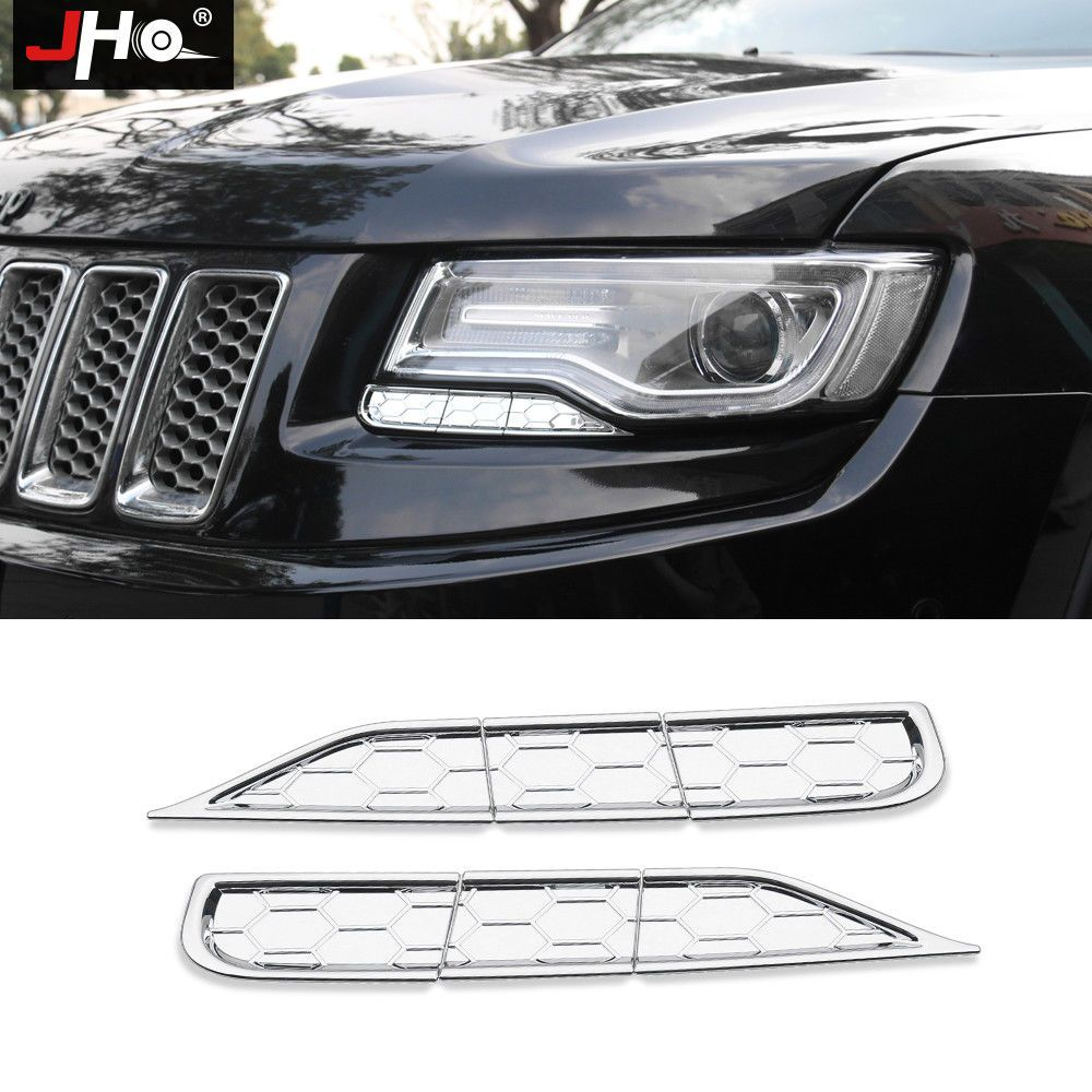 Abs Chrome Front Headlight Washer Spray Cover Trim For Jeep Grand