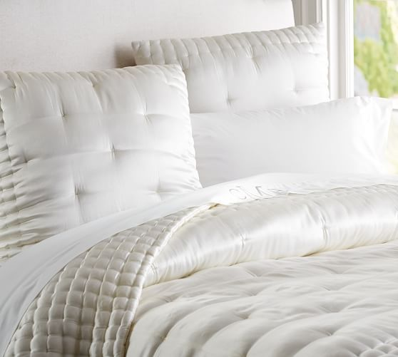 Silk Tufted Quilt Amp Shams Quilted Sham White Bed Set