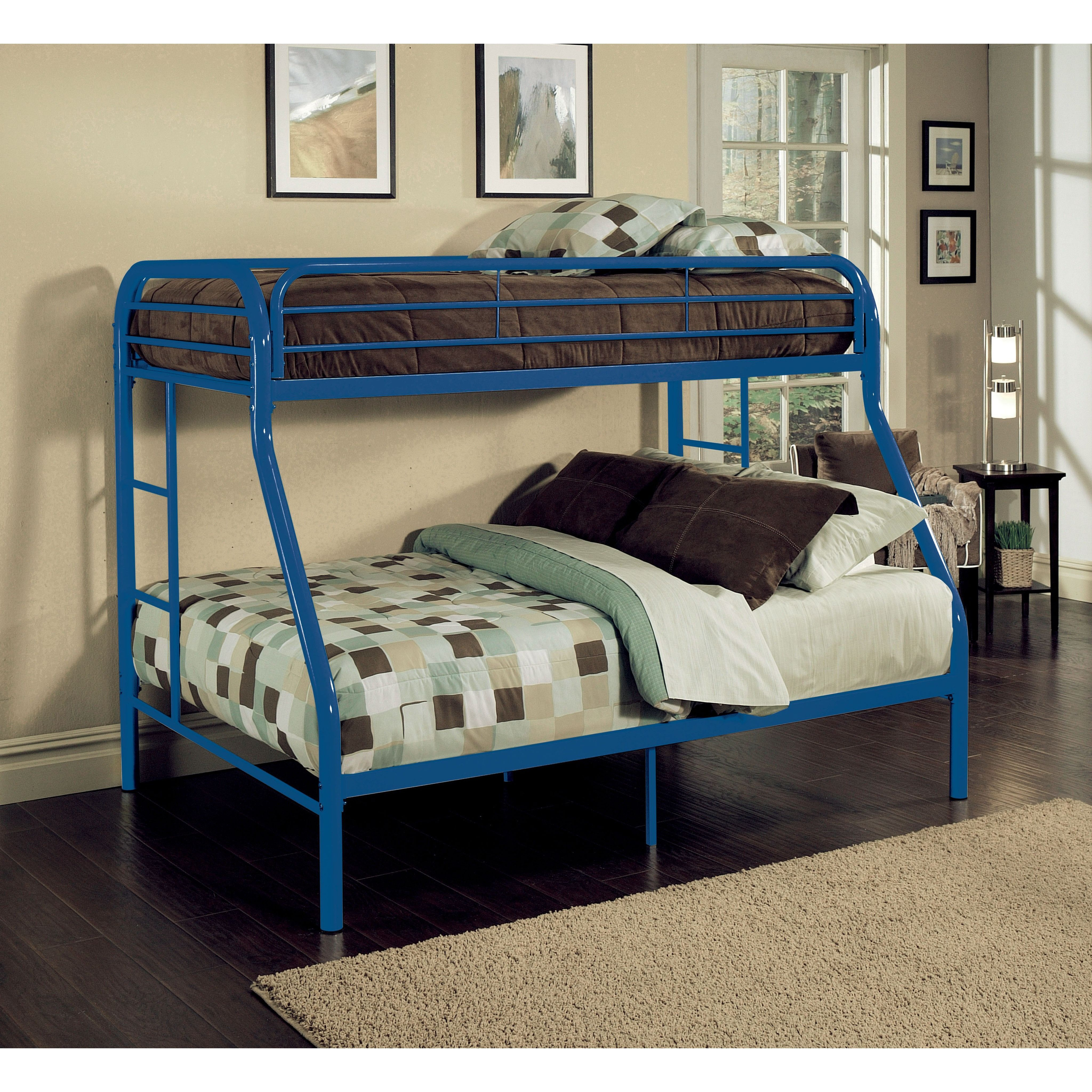 Loft bed with twin underneath  Tritan Purple Twin over Full Bunk Bed  cottage  Pinterest  Full