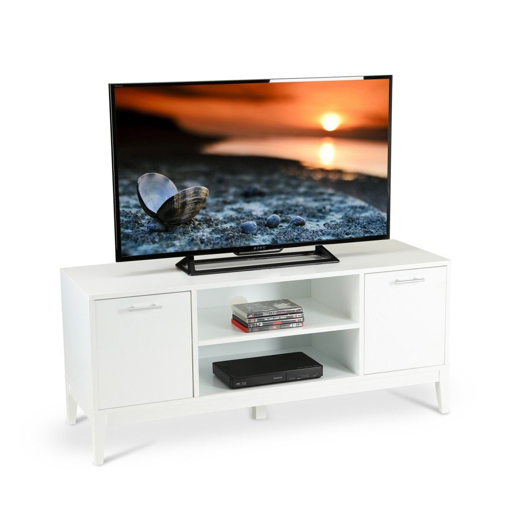 White TV Stand With Side Cupboards http://abreo.co.uk/living-room ...