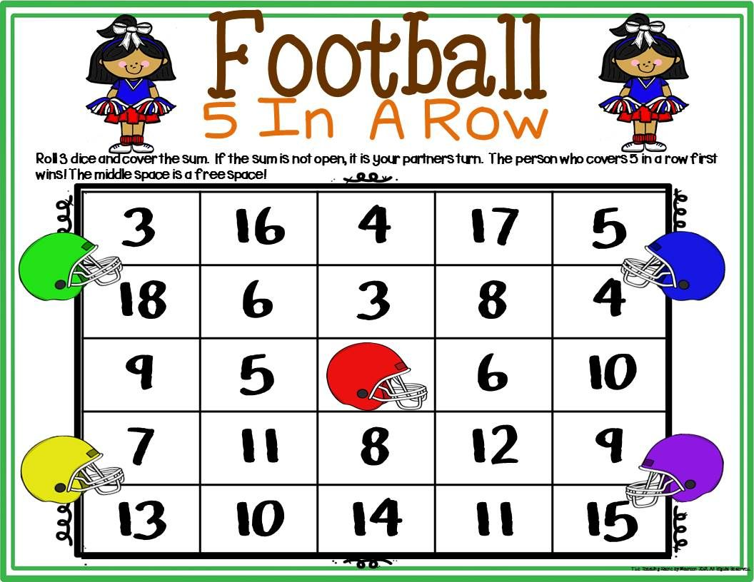 Football Math Center Dice Games