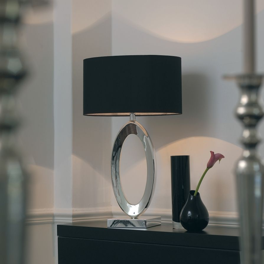 Endon Nerino Envisage 1 Light Modern Table Lamp Silk Black ...