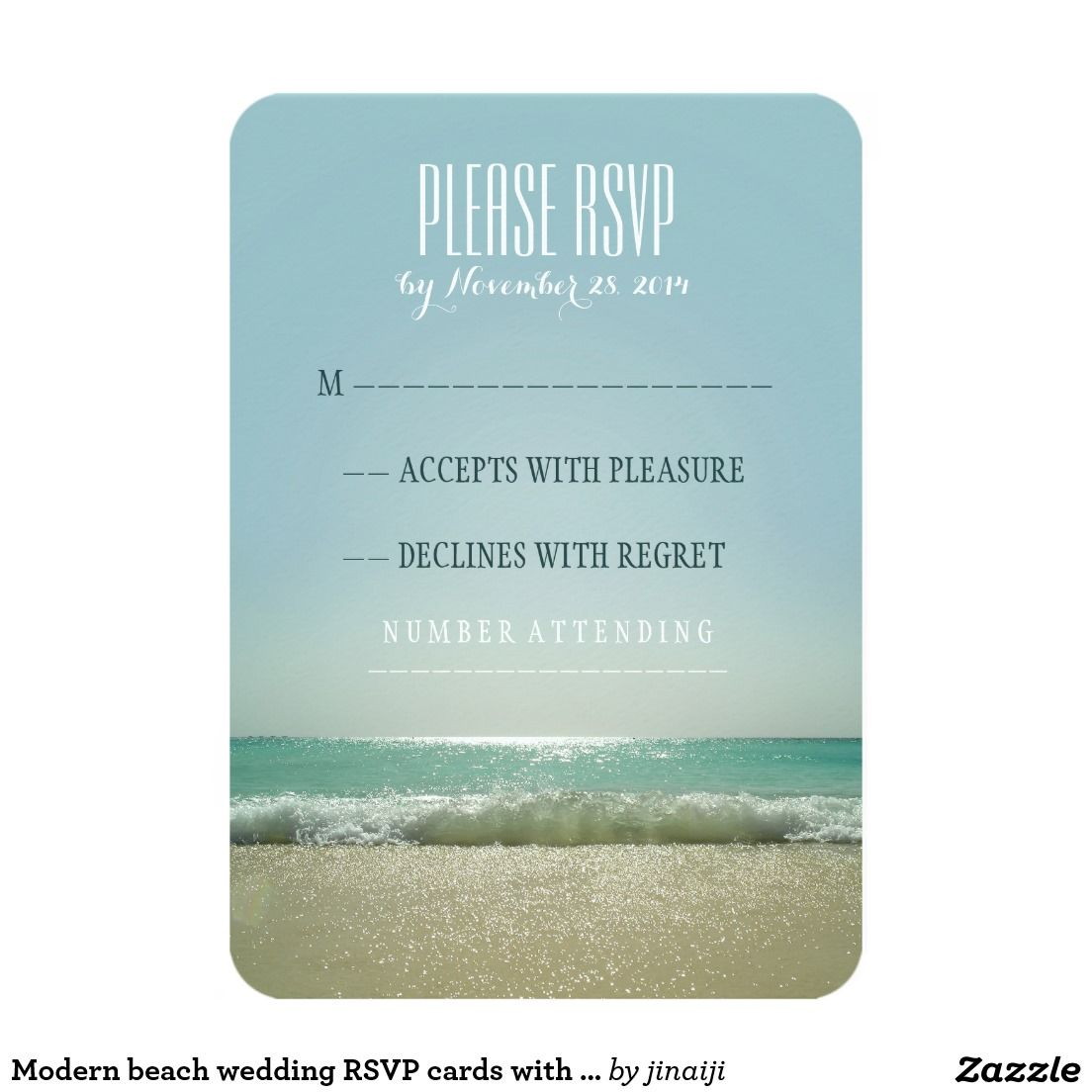 Modern beach wedding RSVP cards with blue sea | Taupe, Wedding and ...