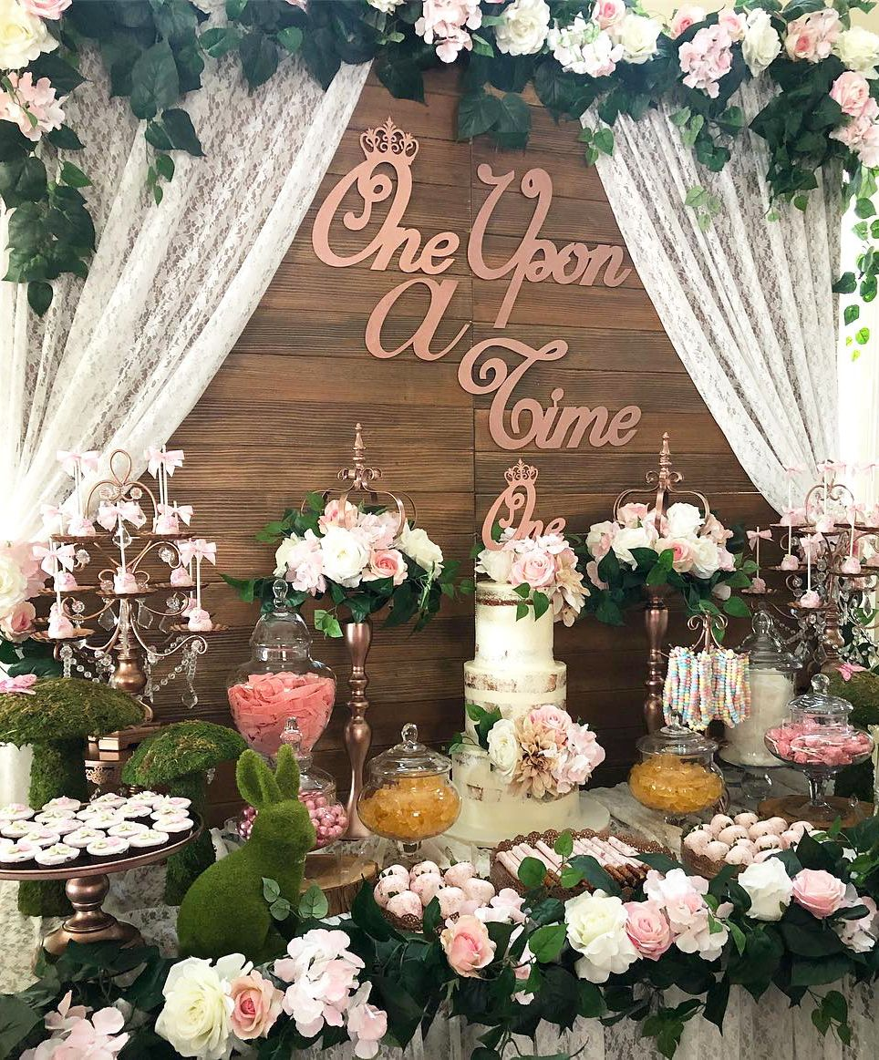 Rustic Rose Gold And Pink Dessert Table Fairytale Birthday Party 1st Birthday Party Themes Girl Birthday Themes