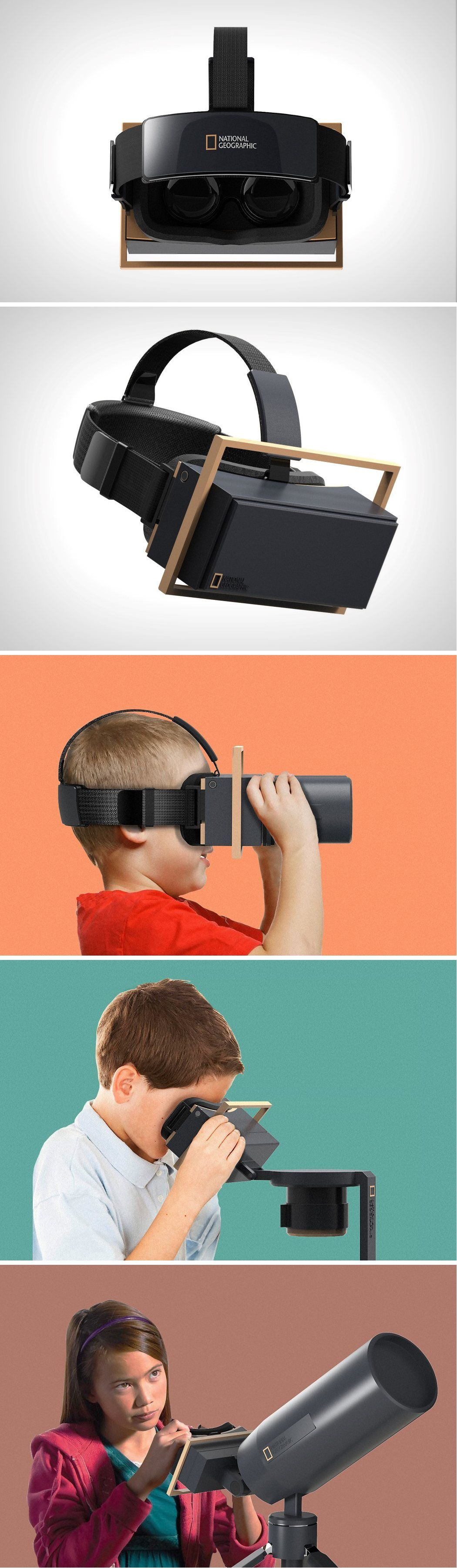 The Vr Touch Kit For National Geographic Comes With Three Attachments That Mimic Binoculars A Tel Virtual Reality Technology Vr Headset Design Wearable Device