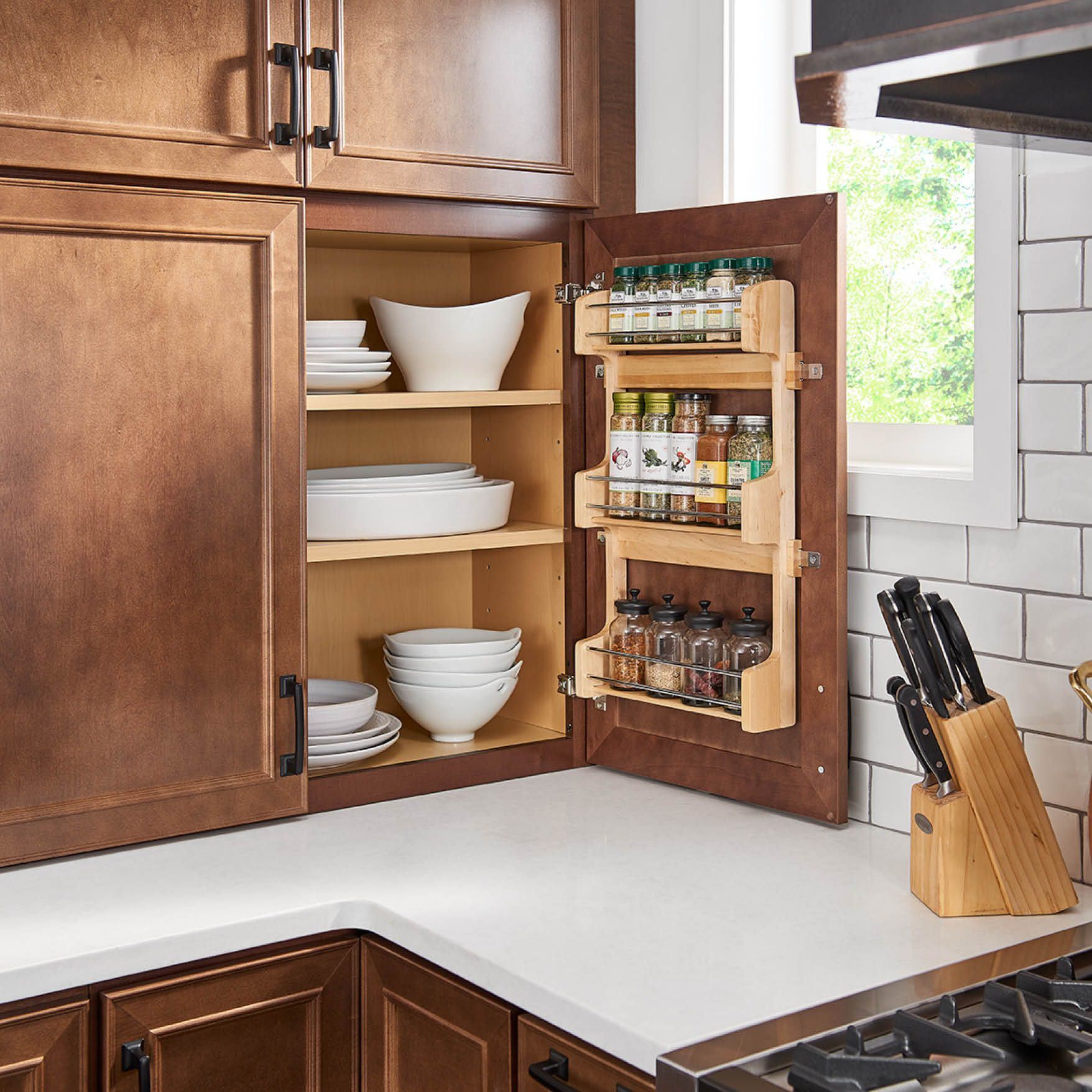 Hide The Secrets To Your Success Spices Shown In 540 Maple Truffle This Spice Rack Is An Essen Beautiful Kitchen Cabinets Cabinet Spice Rack Kitchen Cabinets