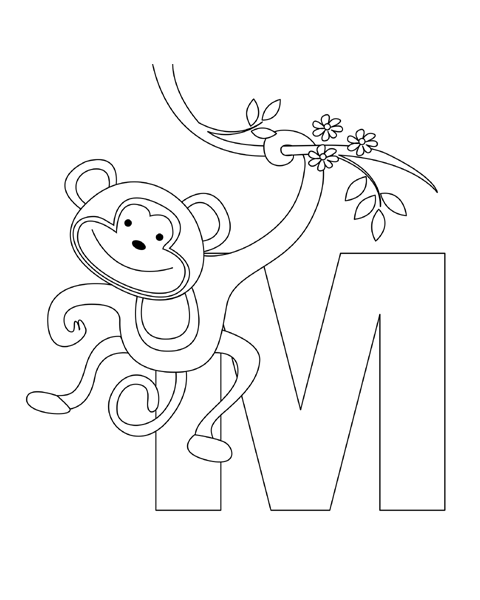 Letter M Coloring Page Monkey Coloring Pages Alphabet Coloring Pages Abc Coloring Pages