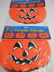 vintage halloween beistle jol pumpkin die cut decorations 2 packs of 4 each ebay