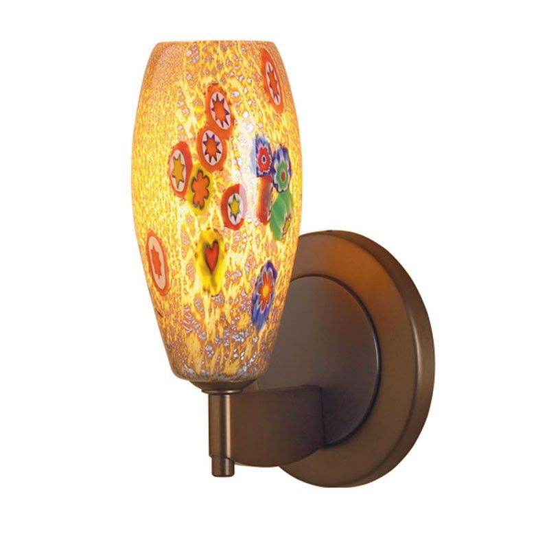 Bruck Lighting Ciro Mini LED Sconce 102832CH Chrome Tan Mosaic Glass