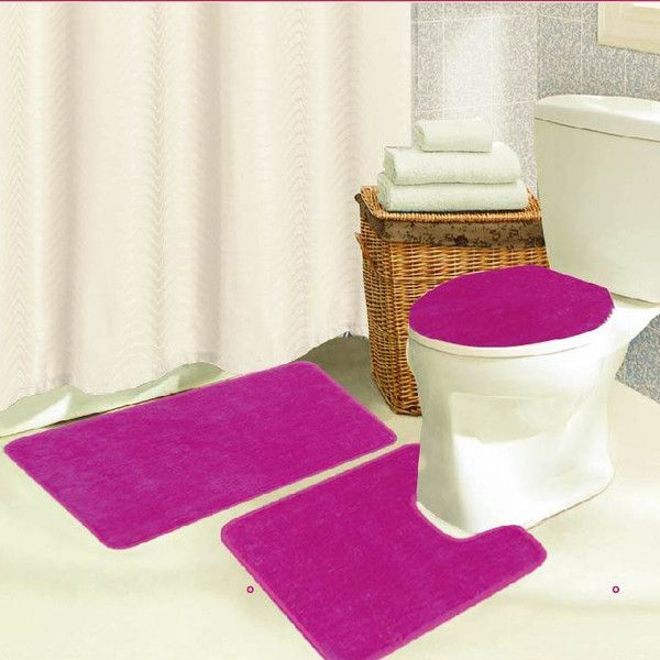 Brandy 3 Piece Bath Rug Set Color Pink Pink Bath Rug Oversized Bath Rug Rug Sets