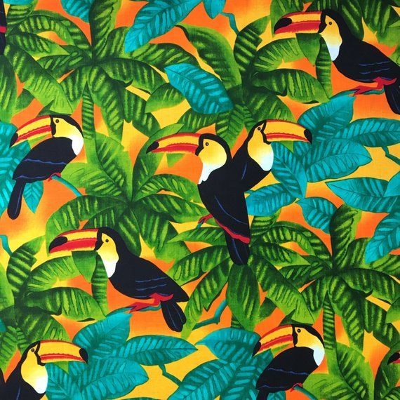Toucan Parrot Jungle Palm Tree Tropical Sunset Fabric By