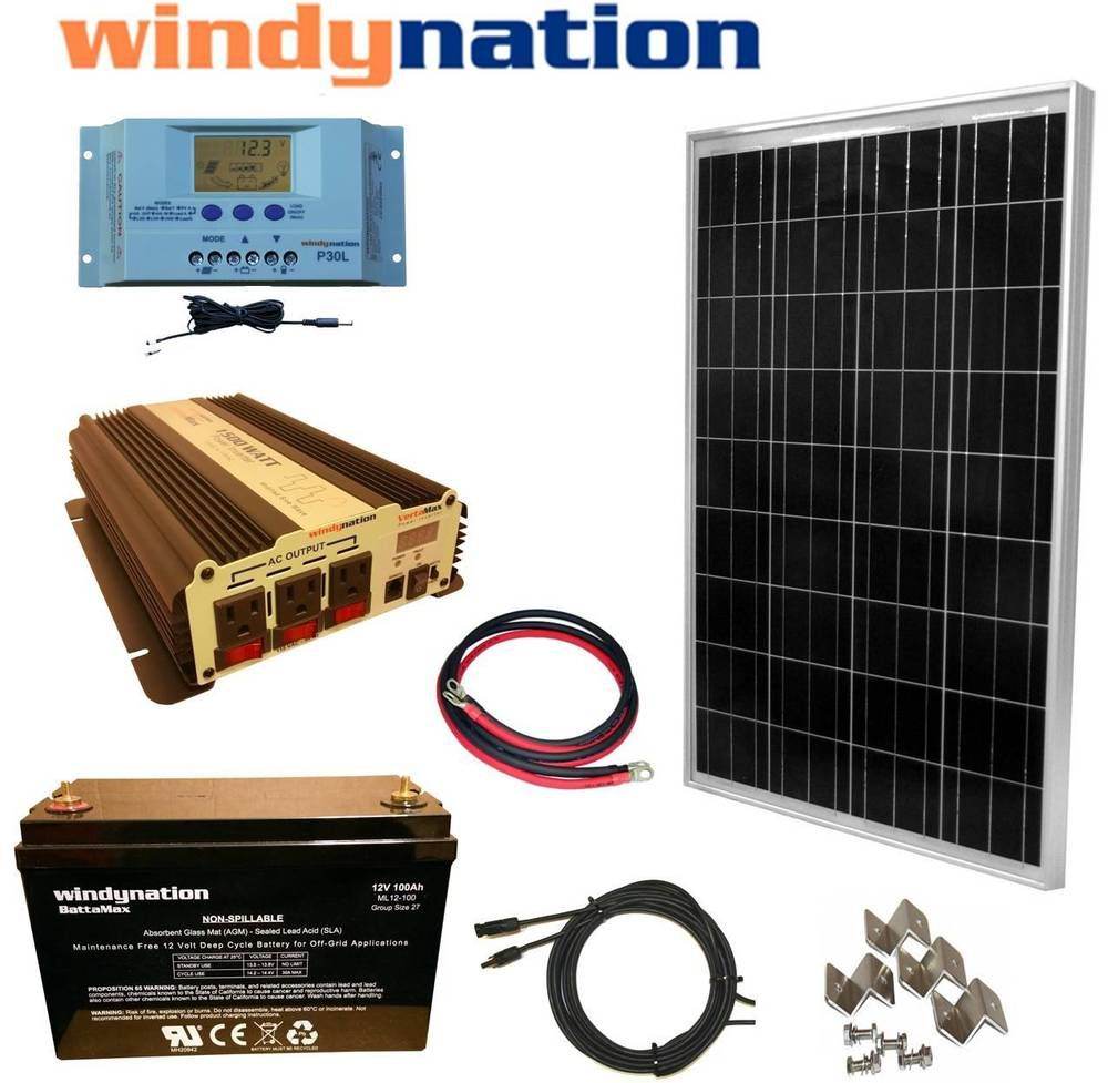 100w 12v Solar Panel Kit 1500w Inverter 100ah Agm Battery Rv Boat Off Grid Ebay Best Solar Panels Solar Energy Panels 12v Solar Panel