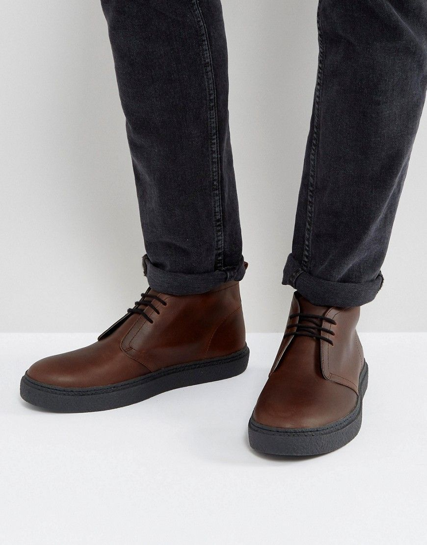 8655ead39ae Fred Perry Hawley Mid Leather Desert Boots in Dark Brown - Tan ...