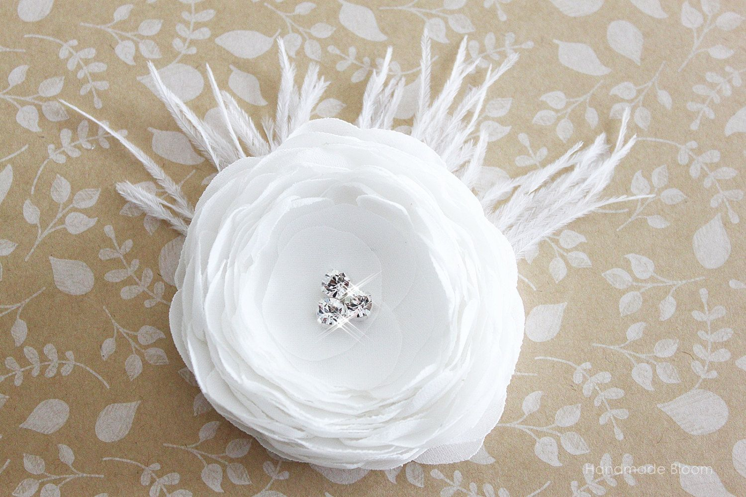 Bridal Flower Hair Clip, White Wedding Accessory,  Bridesmaid Fascinator Swarovski. $21.90, via Etsy.