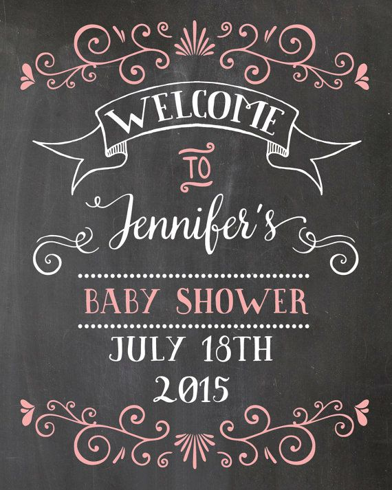 Welcome Baby Shower Sign. Chalkboard Welcome sign ...
