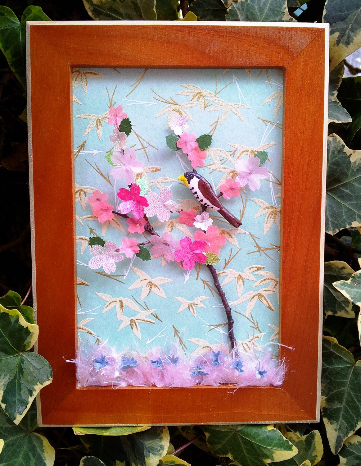 Completely new Bird decor - 3D wall art - Shadow box art with Japanese paper  IK13
