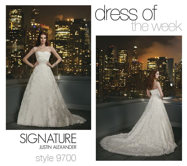 Dress Of The Week: 9700- This week's pick for Dress Of The Week is all lace style 9700. This Justin Alexander Signature A-line wedding dress is made up of a metallic chantilly lace underlay and re embroidered Alencon lace to create dimension