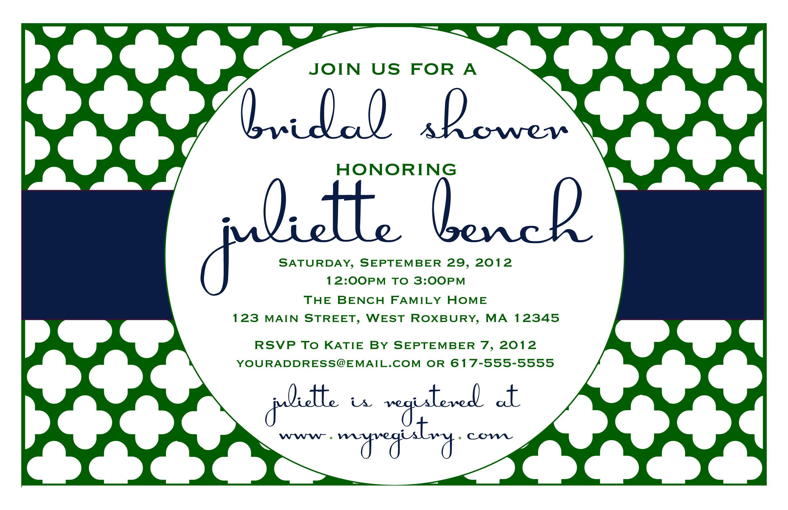 Blue and Green Preppy Bridal Shower Invitation