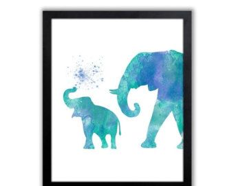 Elephants Colorful Art Print Home Decor Elephant By Littlecatdraw