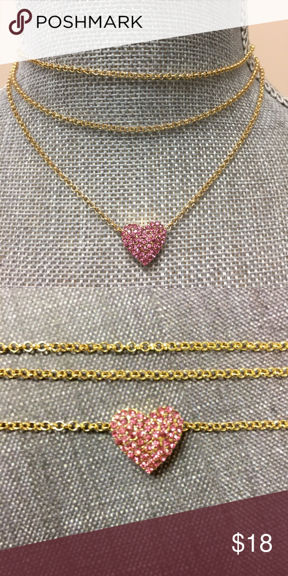 """Triple Strand Choker with Pink CZ Pave Heart,NWT Looove this! A triple strand choker necklace with the lowest strand showcasing a stunning Pave CZ crystal heart. Really """"eye-catching"""" and pretty. zokydoky Jewelry Necklaces"""