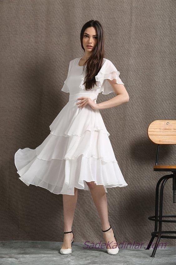 2019 Beyaz Şifon Elbise Modelleri Midi Kısa Kollu Geniş Yaka Katmanlı Etekli