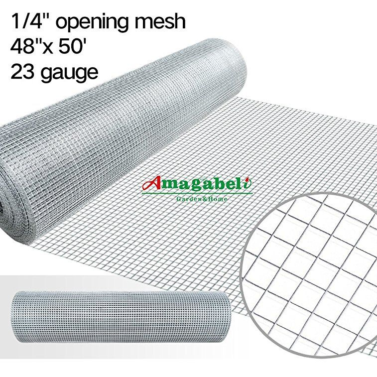48x50 Hardware Cloth 1 4 Inch Square Galvanized Chicken Wire Welded Fence Mesh Roll Raised Garden Bed Plant Supports P Hardware Cloth Rabbit Fence Chicken Coop