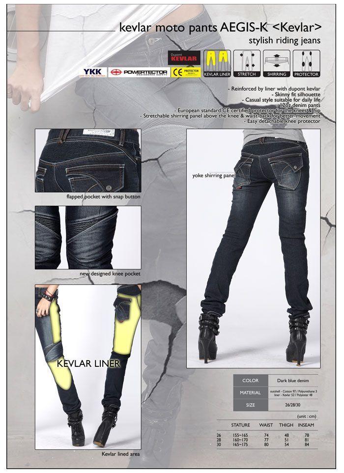 A-Pro Ladies jeans Cotton comfortable Trouser Reinforced Kevlar CE Armoured Black 30