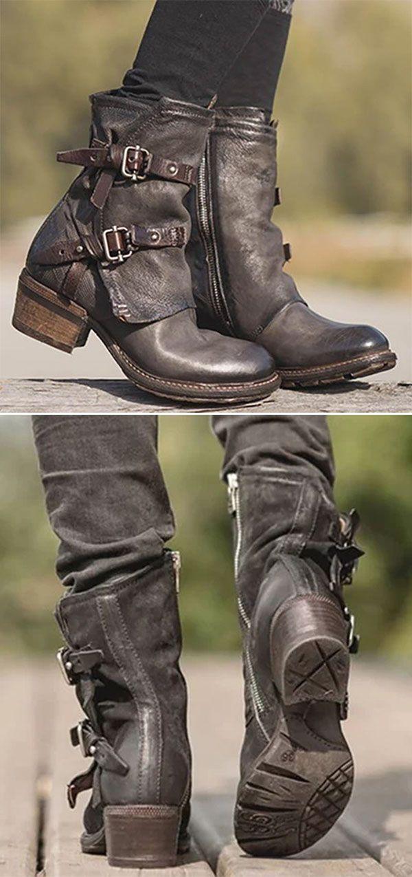 30695937e619c Hot Sale!Women Vintage Buckle Boots Side Zipper Round Toe Plus Size ...