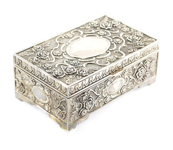 Vintage Silver Jewelry Box Silver Repousse Metal Jewelry Box Rose