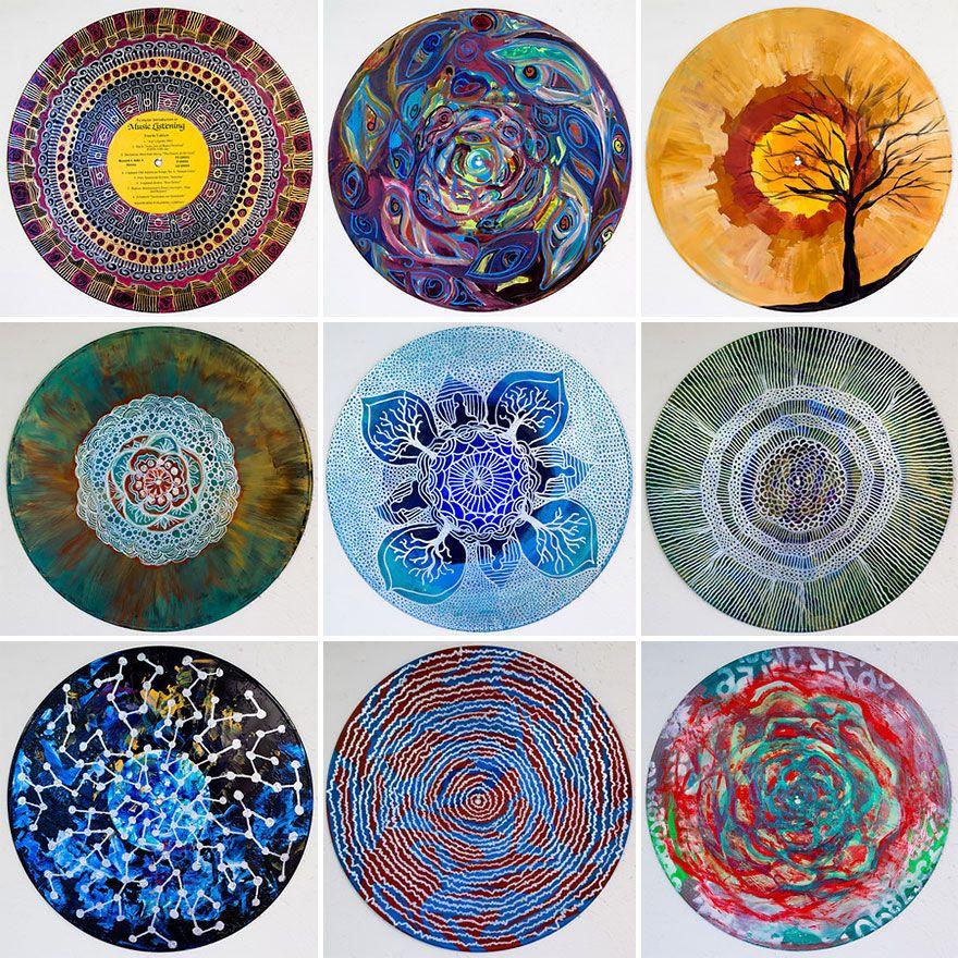 Art Therapist Paints Mandalas On Vinyl Records Vinyl Record Art
