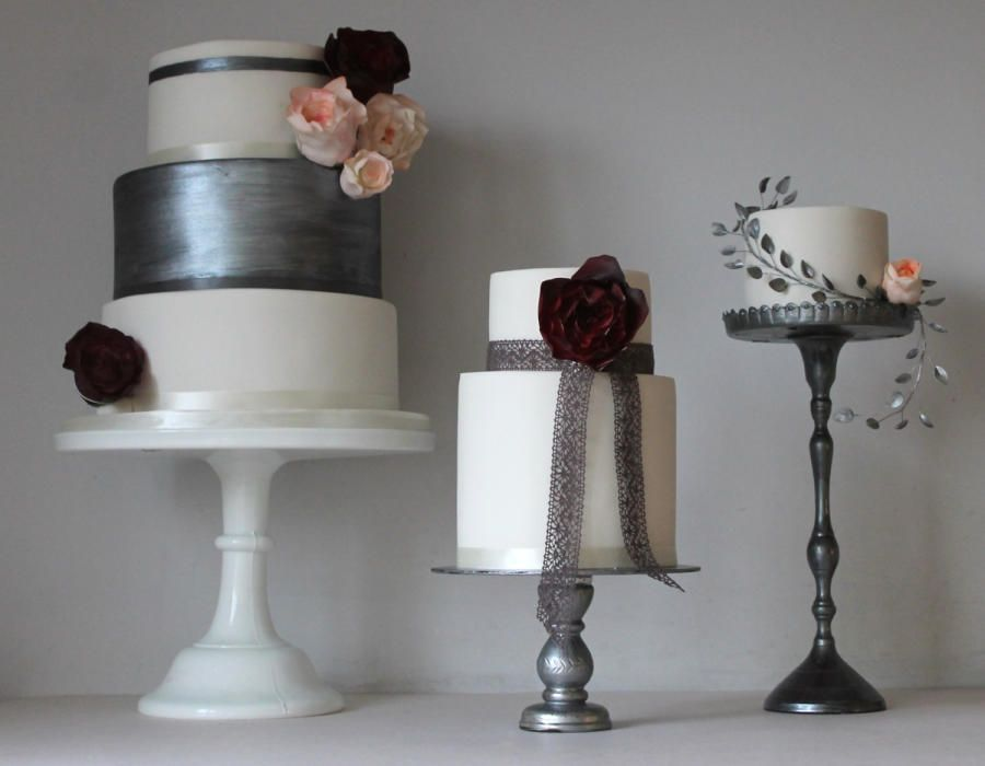 Trio of cakes with pewter shades, blush and deep red - Cake by Happyhills Cakes