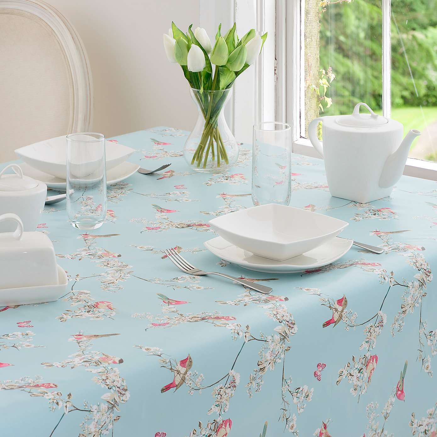 Dunelm Beautiful Birds Pvc Tablecloth in Duck Egg Blue (Small ...