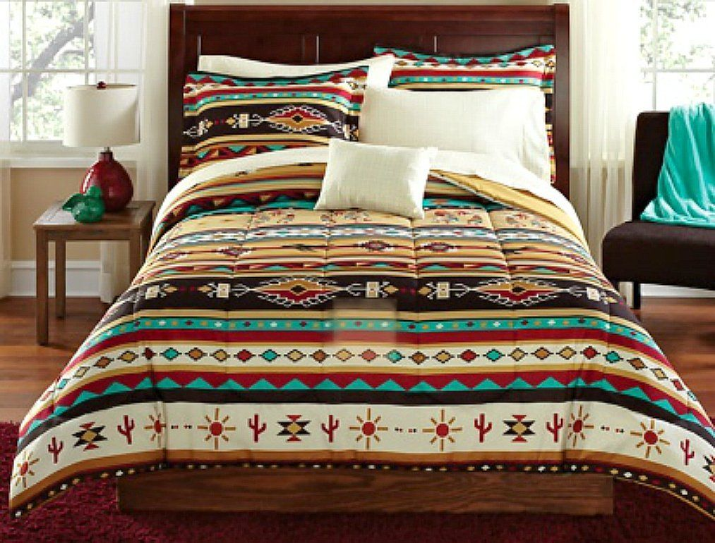turquoise and tan native american style comforter set