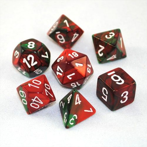 Set Of 7 Chessex Gemini Green-Red W/white RPG Dice Set