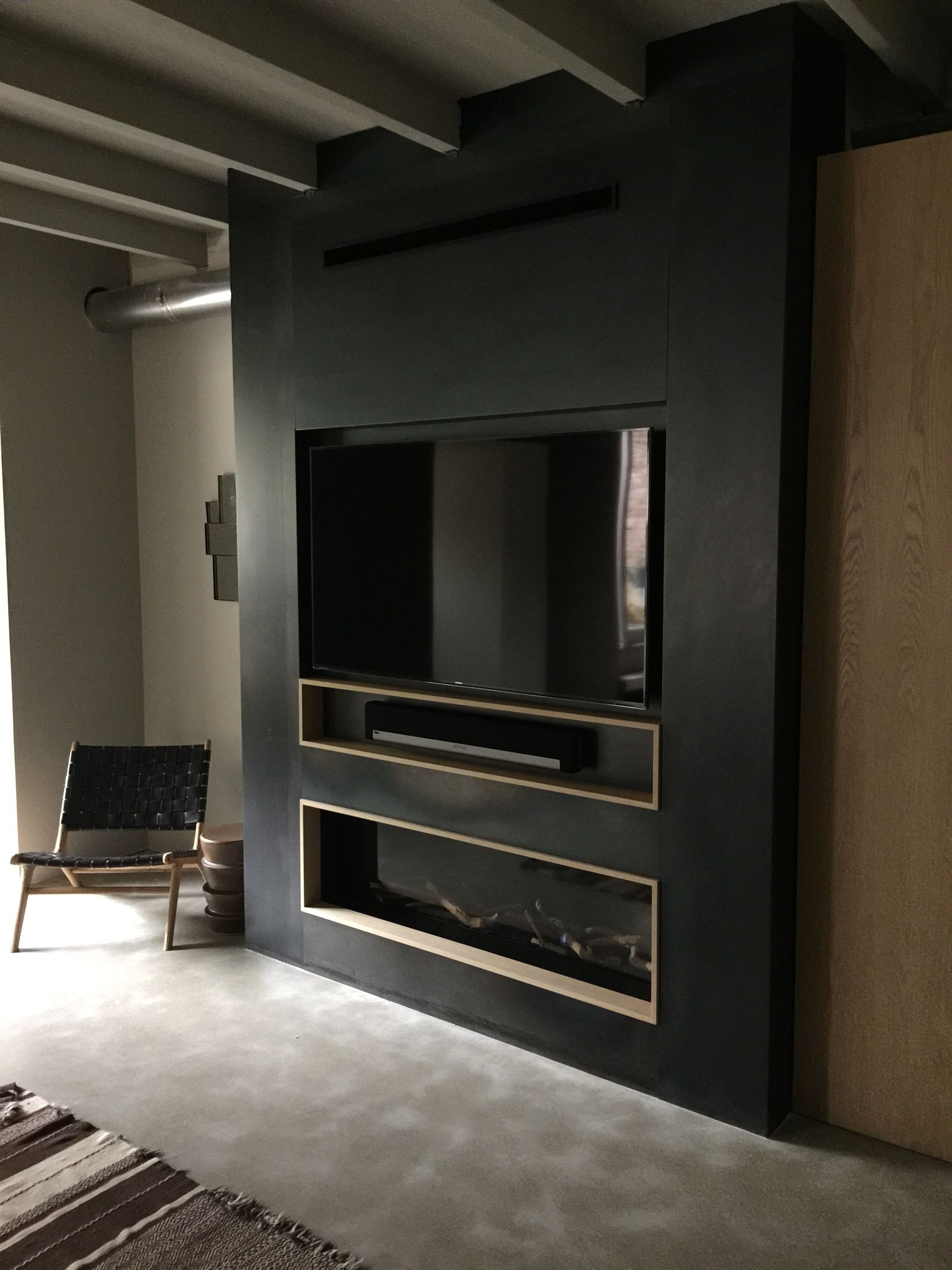 Bespoke M Design Gas Fireplace With Blue Steel Panels