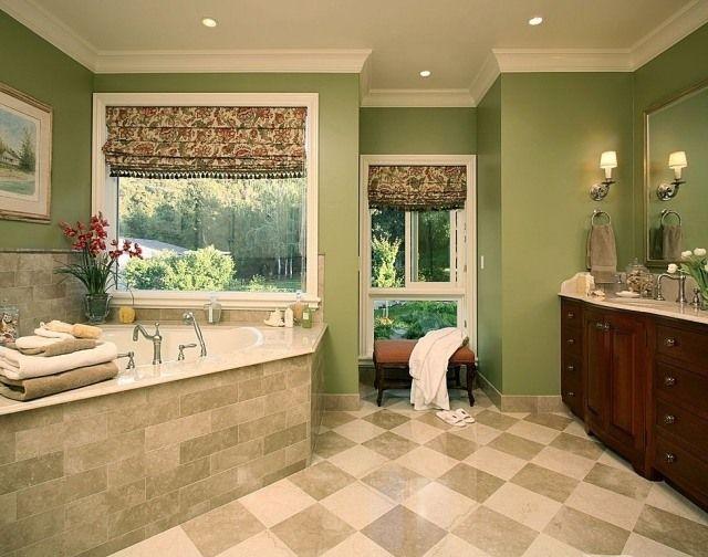 Badezimmer Streichen Ideen Grün Eckbadewanne