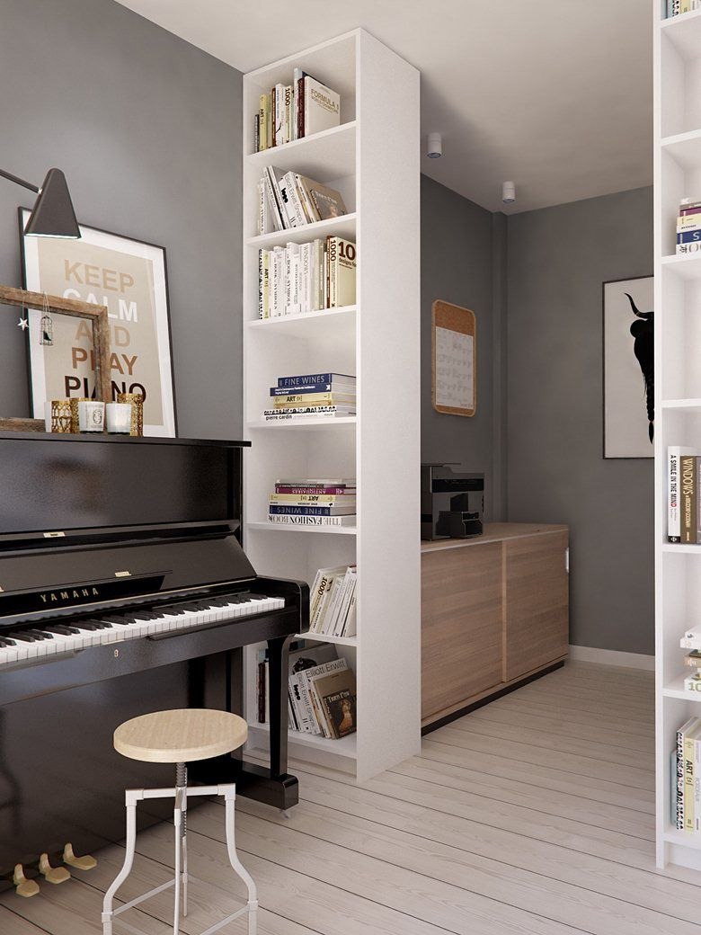 Eclectic Apartment Design Proposes A Fresh New Style Home Music Rooms Piano Room Design Piano Living Rooms Living room ideas piano